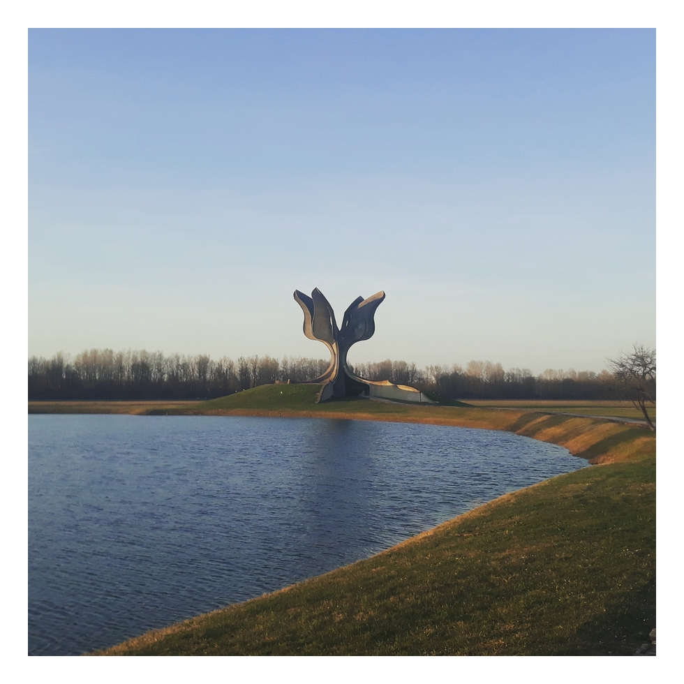 Jasenovac concentration camp where 100 000 people lost their lives during Nazi occupation and puppet Nazi ''Ustaša'' regime. Stone flower is a monument to the victims.