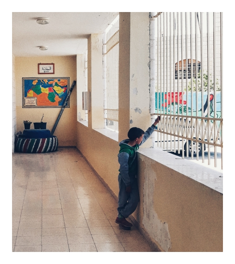 Palestinian boy in Hebron school